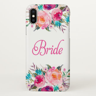 Bride Floral Watercolor Pink Glitter Zazzle iPhone X Case