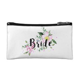 Bride Floral Watercolor Wedding Makeup Bag