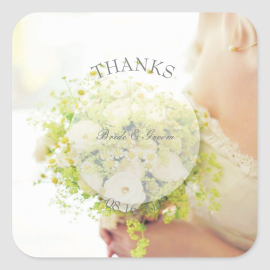 Bride flower bouquet editable wedding- Thanks Square Sticker