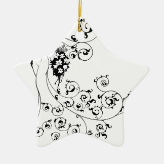 Bride Flowers Silhouette Wedding Design Christmas Ornament