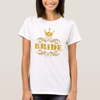 Bride Glitter Golden on Custom Background T-Shirt
