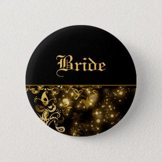 Bride gold black wedding bridal party 6 cm round badge