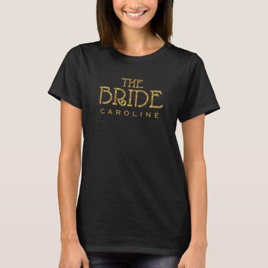 Bride Gold Faux Glitter Custom Shirt