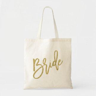 Bride Gold Glitter Script Budget Tote Bag