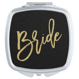 Bride Gold Glitter Script Compact Mirrors