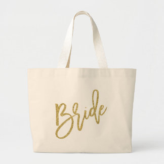 Bride Gold Glitter Script Large Tote Bag
