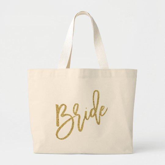 Bride Gold Glitter Script Large Tote Bag