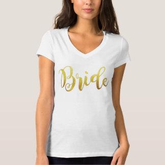 Bride Gold Ombre Sparkle V Neck T-Shirt