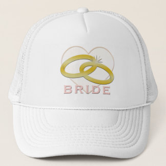 Bride | Gold Wedding Rings Heart Trucker Hat