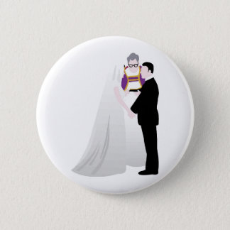 Bride, Groom and Officiant 6 Cm Round Badge