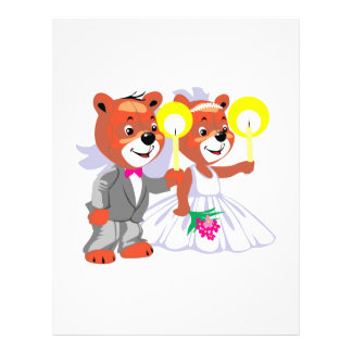 bride groom bears holding candles personalized flyer
