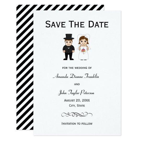 Bride & Groom Black Stripes - 3x5 Save