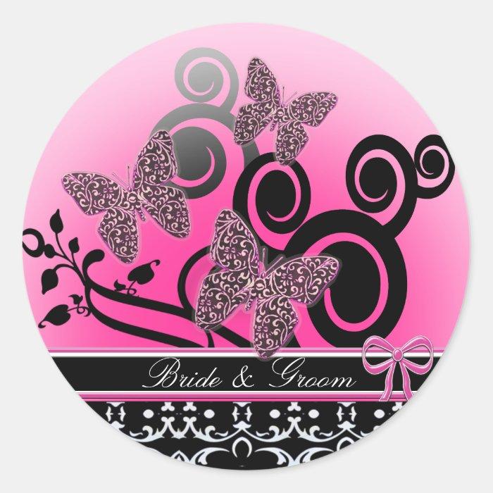 Bride & Groom Butterflies Swirls Pink Black &White Round Sticker