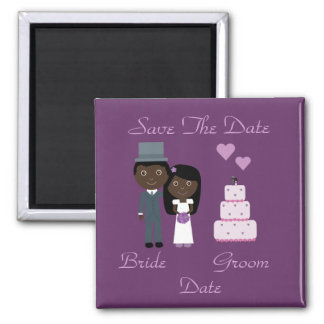 Bride & Groom & Cake Ethnic Save The Date Wedding Square Magnet