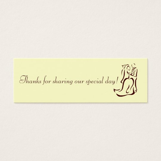 Bride&Groom Champagne Favour Tag Mini Business Card