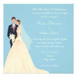 Bride & Groom, Church & Blossom Blue Wedding Personalised Announcement