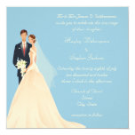 Bride & Groom, Church & Blossom Blue Wedding Personalised Announcement