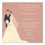 Bride & Groom, Church & Blossom Pink Wedding 13 Cm X 13 Cm Square Invitation Card