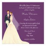 Bride & Groom, Church & Blossom Purple Wedding Custom Invites