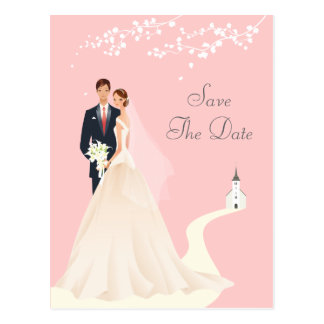 Bride & Groom, Church & Blossom Save The Date Postcard