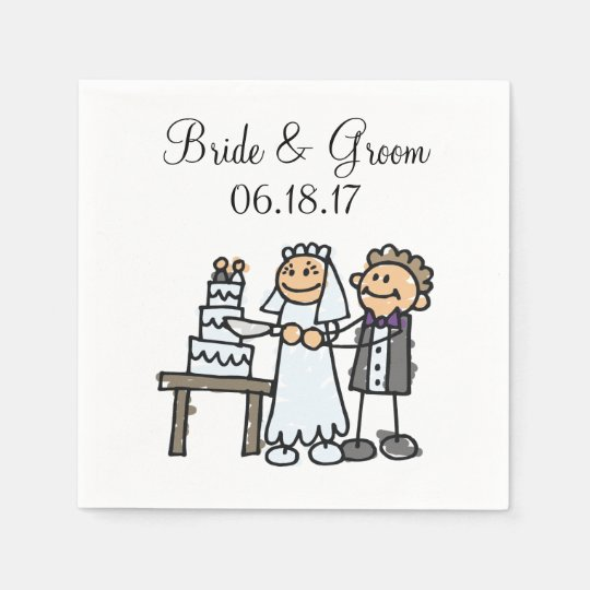 Bride Groom Cut Wedding Cake Together Disposable Serviettes