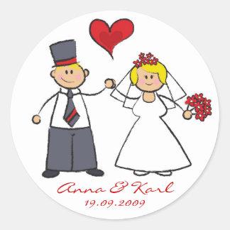 Bride & Groom Cute Couple Mr & Mrs Wedding Sticker
