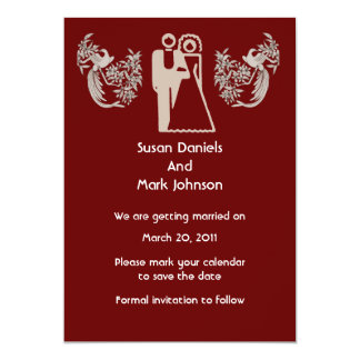 """Bride Groom Doves Brown Wedding Save The Date 5"""" X 7"""" Invitation Card"""