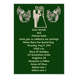 Bride Groom Doves Green Wedding Invite
