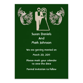 """Bride Groom Doves Green Wedding Save The Date 5"""" X 7"""" Invitation Card"""