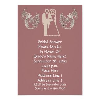 "Bride Groom Doves Pink Bridal Shower Invite 5"" X 7"" Invitation Card"