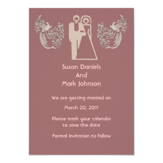 """Bride Groom Doves Pink Wedding Save The Date 5"""" X 7"""" Invitation Card"""