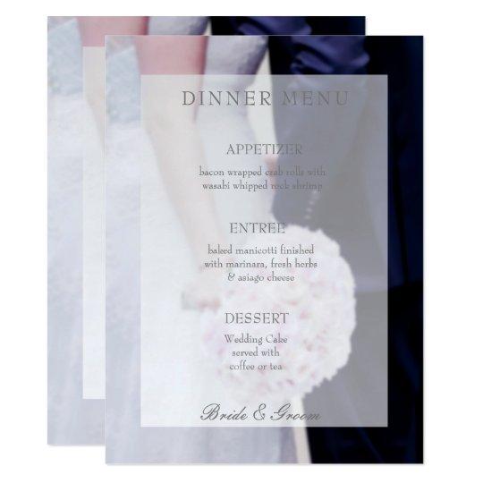 Bride & groom editable wedding menu card