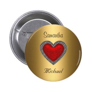 Bride Groom Gold Wedding Button Red Heart Button