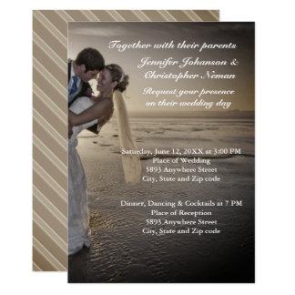 Bride & Groom Grayed Sunset Beach Wedding Invite