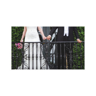 Bride & Groom hold hands Stretched Canvas Prints