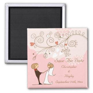 Bride Groom Holding Hands Save The Date Wedding Refrigerator Magnets