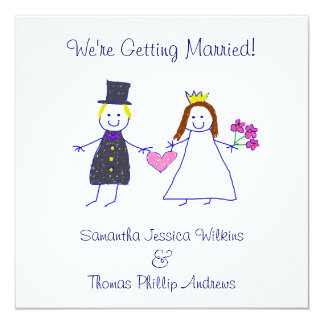 Bride & Groom Holding Heart 13 Cm X 13 Cm Square Invitation Card