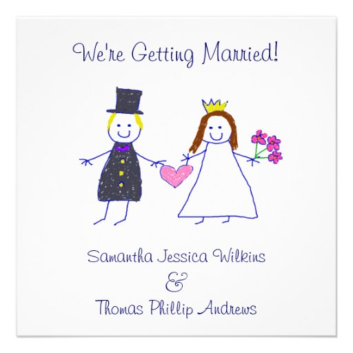 Bride & Groom Holding Heart Personalized Invites
