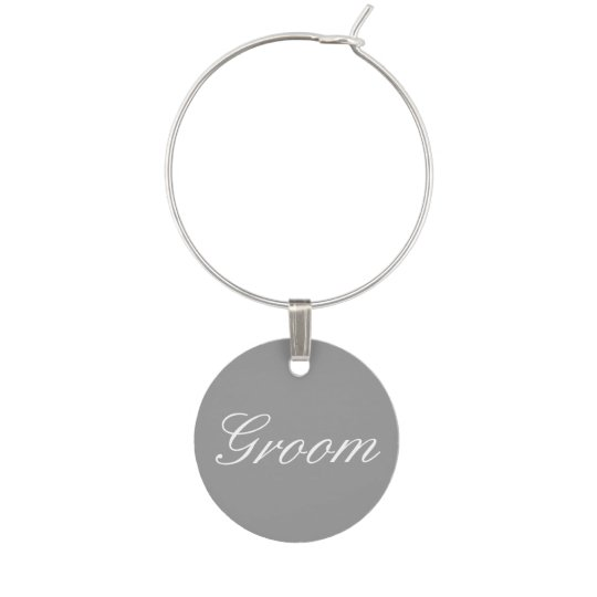Bride Groom in Grey Wine Charm