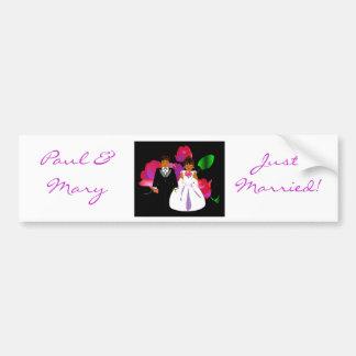 """Bride & Groom Just Married II"" Bumper Sticker"