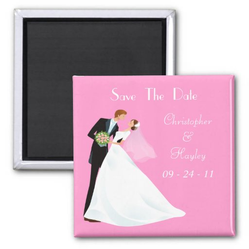 Bride & Groom Kiss Save The Date Refrigerator Magnets