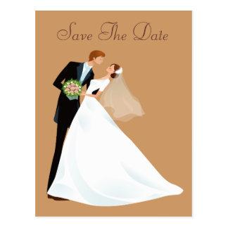Bride & Groom Kiss Vintage Save The Date Postcards