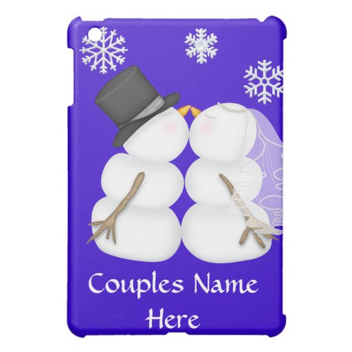 BRIDE & GROOM Kissing Snowman HARD SHELL  Case For The iPad Mini
