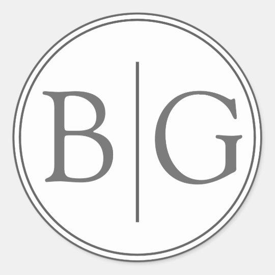Bride Groom Monogram Grey Wedding Favour Stickers