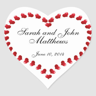 Bride Groom Names Hearts Wedding Favour Stickers