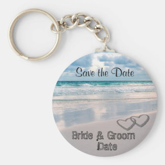 Bride & Groom Names Written in the Sand Basic Round Button Key Ring