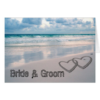 Bride & Groom Names Written in the Sand Greeting Card