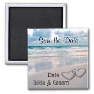 Bride Groom Names Written in the Sand Fridge Magnets