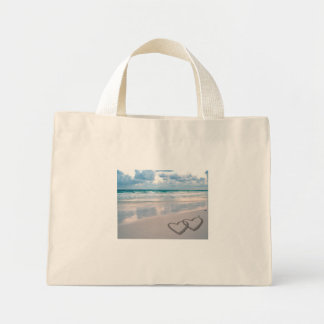 Bride & Groom Names Written in the Sand Mini Tote Bag