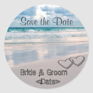 Bride & Groom Names Written in the Sand Round Sticker